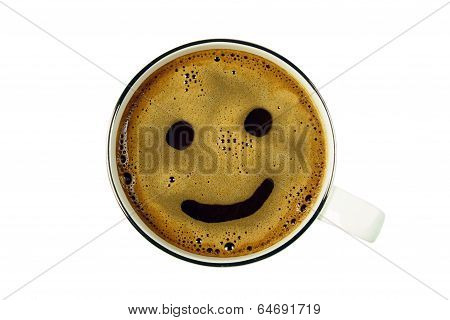 cup of coffee from the top with smile, isolated
