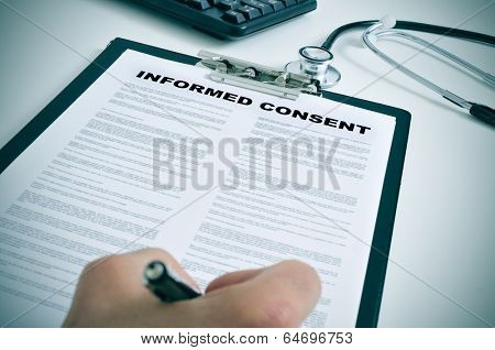 patient signing an informed consent in a doctors office poster