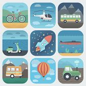 Detailed Transport App Icons Set in Trendy Flat Style poster
