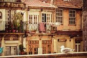 thin houses in old town Porto Portugal poster