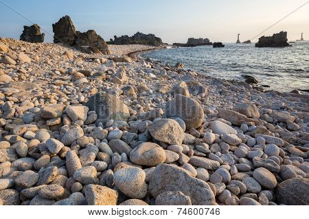 Rocky beach in the Ushant island, Brittany, France