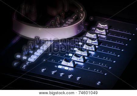 Studio audio sound console and headphones