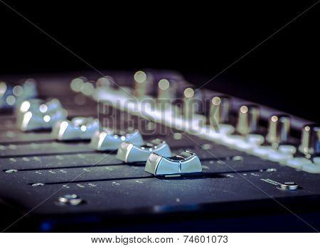 Studio sound  music recording system sliders poster
