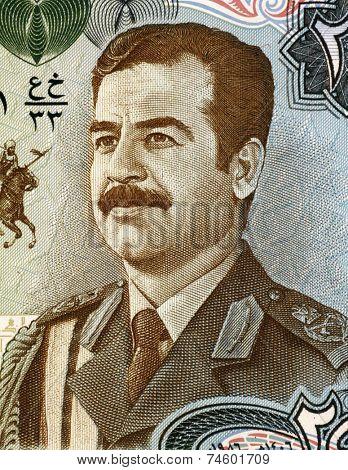IRAQ - CIRCA 1986: Saddam Hussein (1937-2006) on 25 Dinars 1986 Banknote from Iraq. Fifth President of Iraq during 1979-2003.