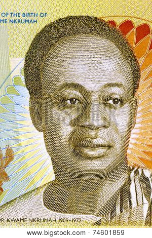 GHANA - CIRCA 2010: Kwame Nkrumah (1909-1972) on 2 Cedis 2010 Banknote from Ghana. Leader of Ghana and its predecessor state, the Gold Coast, during 1951-1966.