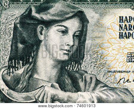 YUGOSLAVIA - CIRCA 1968: Farm woman with sickle on 5 Dinara 1968 banknote from Yugoslavia.