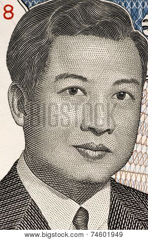 CAMBODIA - CIRCA 1992: Norodom Sihanouk (1922-2012) on 2000 Riels 1992 Banknote from Cambodia. King of Cambodia during 1941-1955 and 1993-2004.