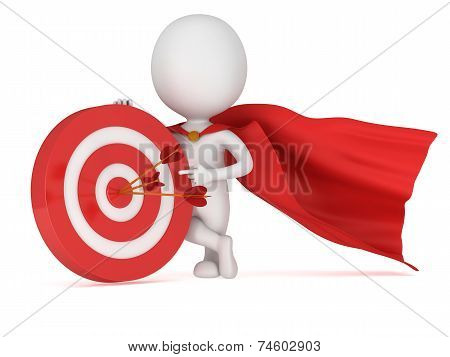 3D Man Brave Superhero With Red Target.