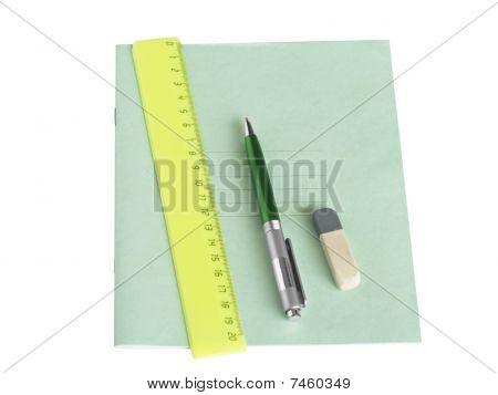 School Writing-book, Ruler And Pen