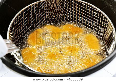 Cutlets in deep fryer, closeup