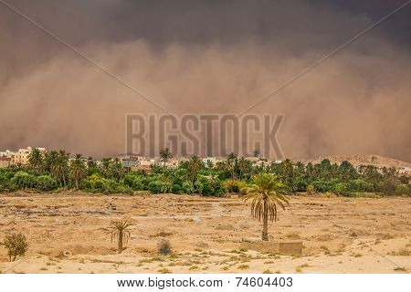 Sandstorm in the city in the background GafsaTunisia Africa