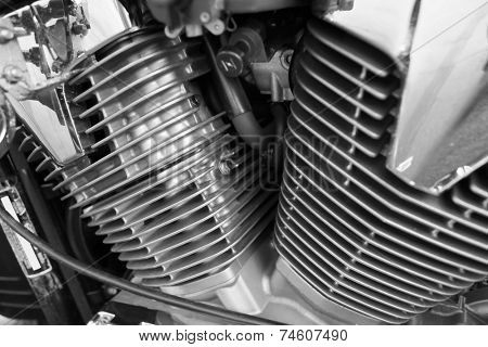 Motorcycle engine, metallic background with exhaust pipes  poster