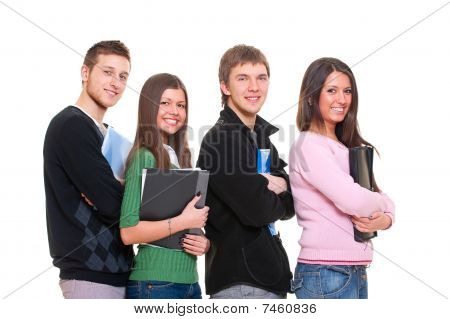Four Smiley Students