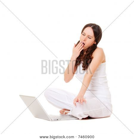 Tired Young Woman Yawning