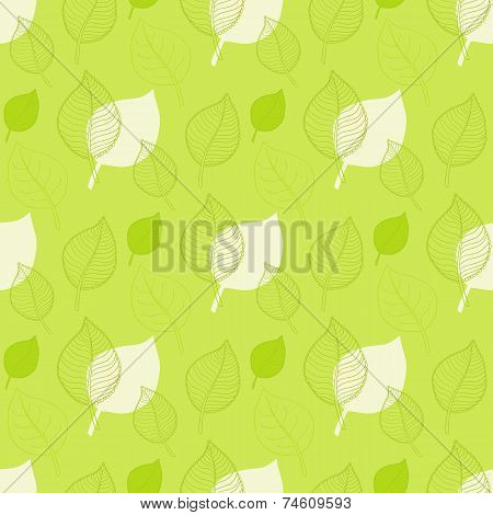 Seamless Autumn pattern,abstract green leaf