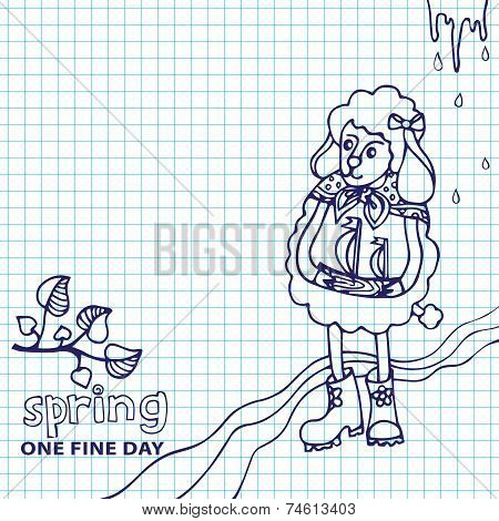 Doodle Sketch in the style of children's hand drawing . Cute sheep girl l with ship standing Spring Sketchy notepaper. poster