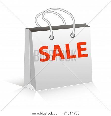 Empty Shopping Bag on white for advertising and branding. poster