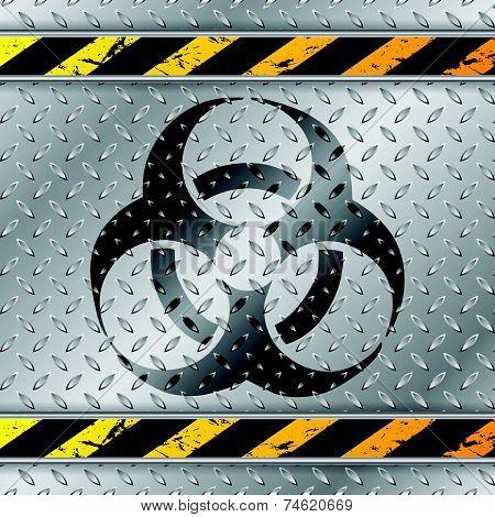 Bio Hazzard Warning Sign On Metallic Plate