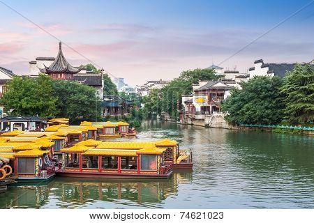 Nanjing Confucius Temple In Twilight