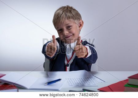 Schoolkid Showing Thumbs Up