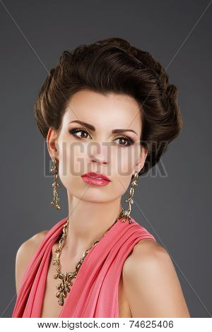Aristocratic Lady with Glossy Earrings and Necklace poster