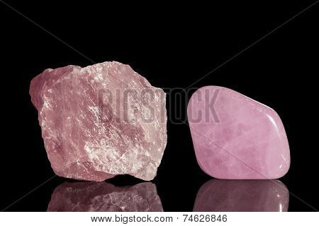 rose quartz uncut and Tumble finishing with black background and reflection poster