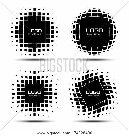 Set of Abstract Halftone Logo Design Elements