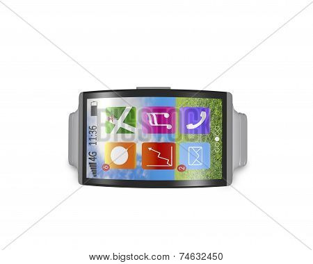 Ultra-thin Bent Interface Smartwatch Horizontal With Metal Watchband
