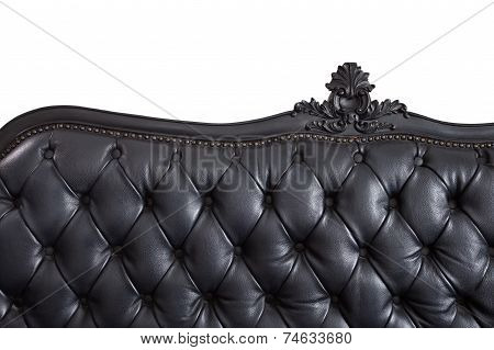Close - up black leather backrest background