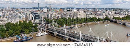 Hungerford Bridge panorama in London