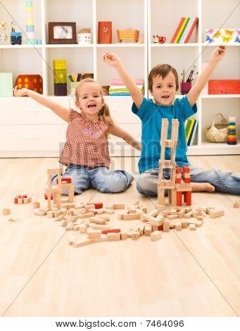 Kids Proud Of Their Wooden Block Buildings
