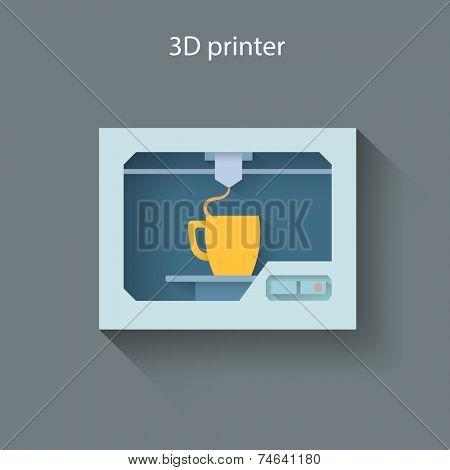 Industrial 3D printer prints a cup