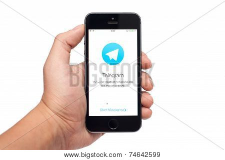 IPhone 5S with Telegram app