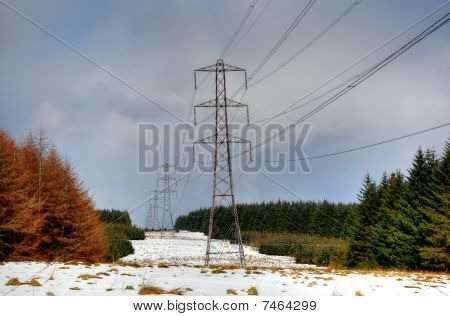Line Of Electricity Pylons