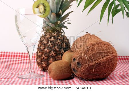 Pineapple, Cocos, Kiwi And Mineral Water