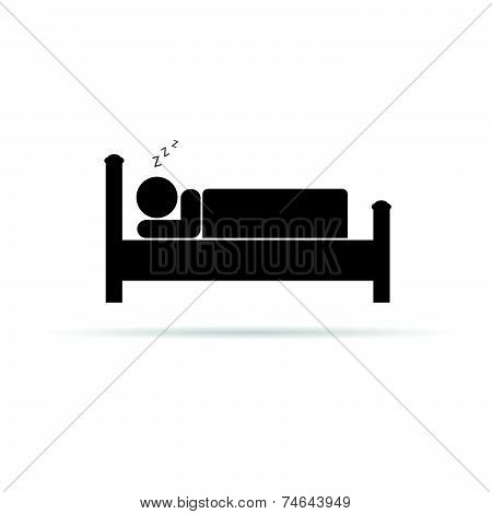 Man Sleeping On Bed Black Vector Silhouette