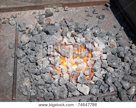 Furnace With Hot Flaming Coal