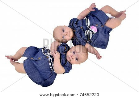 Six Month Twin Sisters