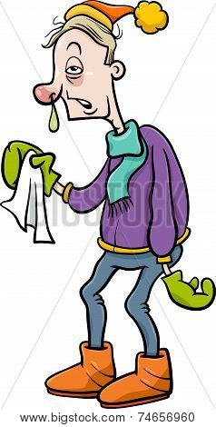 Man With Flu Cartoon Illustration