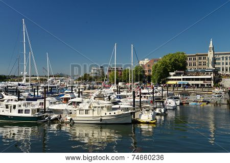 VICTORIA, CANADA JULY 15: View of Marina on July 15, 2014 at  Waterfront