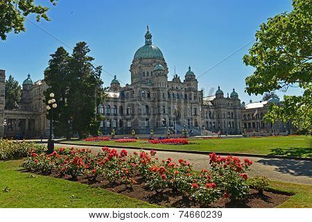 VICTORIA, CANADA JULY 15: View of Legislative Building on July 15, 2014 at Victoria Waterfront
