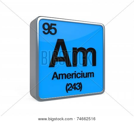 Americium Element Periodic Table isolated on white background. 3D render poster