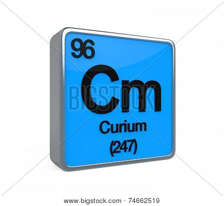 Curium Element Periodic Table isolated on white background. 3D render poster