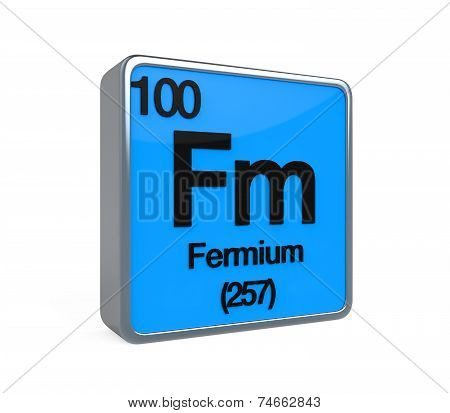 Fermium Element Periodic Table isolated on white background. 3D render poster