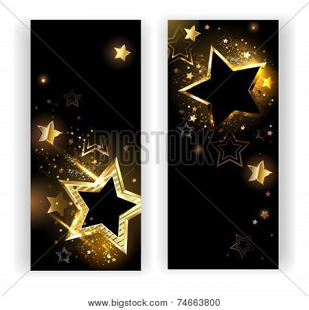 Two Banners With Gold Stars