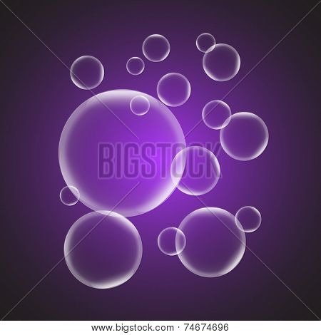 Abstract Background With Violet Glossy Bubble