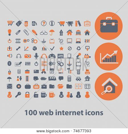 100 web internet icons, signs, illustrations, vector, set