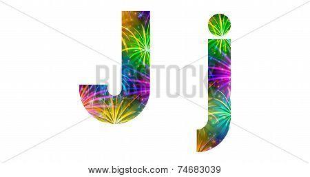 Set of letters, firework, J