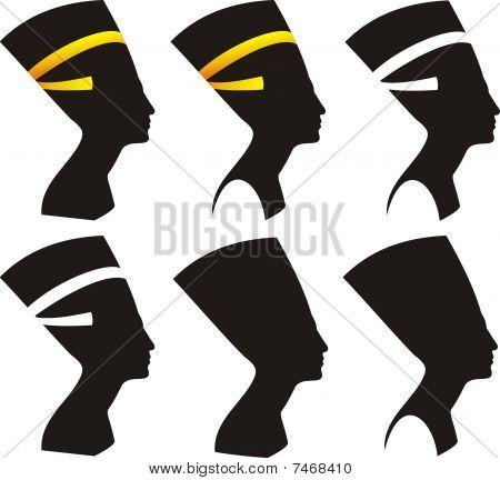 Six vector silhouettes of Nefertiti