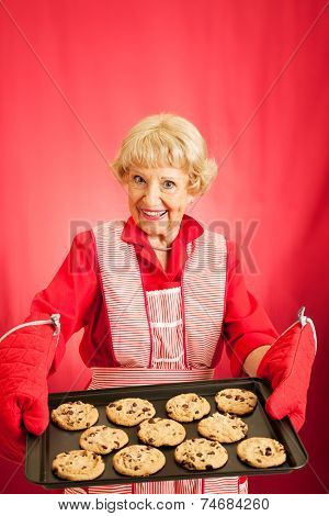 Sweet old fashioned grandma holding a tray of her homemade cookies.  Room for text.
